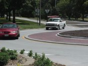 The roundabout at 33rd and Sheridan Boulevard